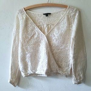 American Eagle Lace Crochet White Long Sleeve Top